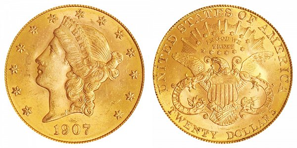 1907 Liberty Head $20 Gold Double Eagle - Twenty Dollars