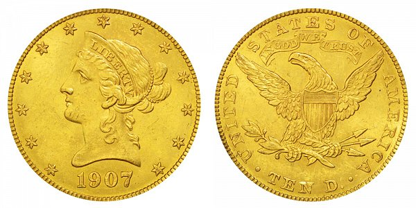 1907 Liberty Head $10 Gold Eagle - Ten Dollars