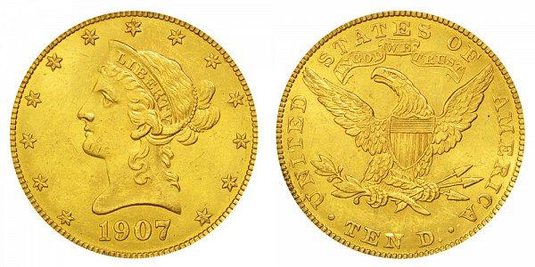 1907 Liberty Head $10 Gold Eagle - Ten Dollars