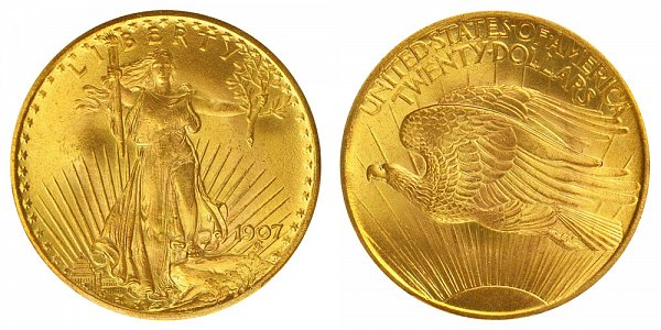 1907 Arabic Numerals - Small Edge Letters - Saint Gaudens $20 Gold Double Eagle - Twenty Dollars