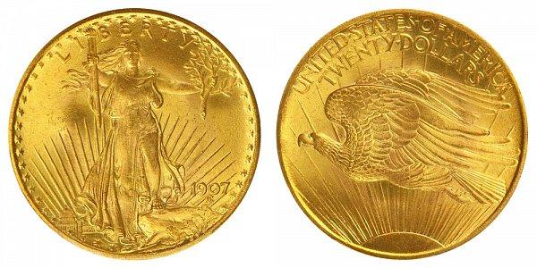 1907 Arabic Numerals - Small Edge Letters - Saint Gaudens $20 Gold Double Eagle - Twenty Dollars