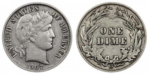 1907 O Silver Barber Dime