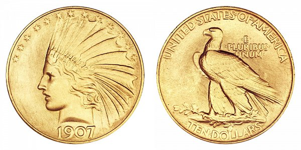 1907 Rolled Rim With Periods - Indian Head $10 Gold Eagle - Ten Dollars