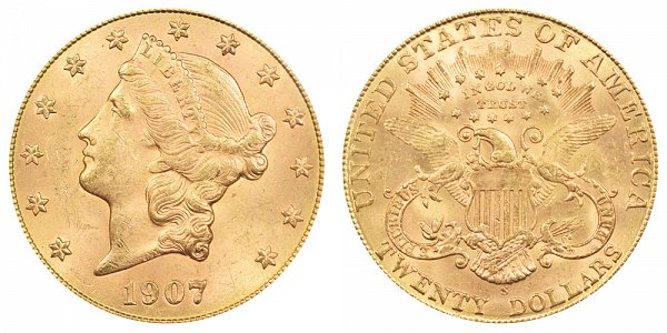 1907 S Liberty Head $20 Gold Double Eagle - Twenty Dollars