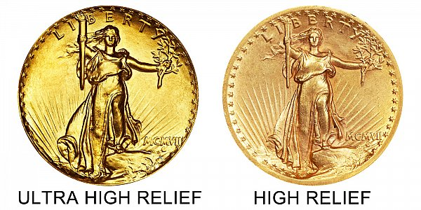 1907 Ultra High Relief vs High Relief Obverse - $20 Saint Gaudens Gold Double Eagle - Difference and Comparison