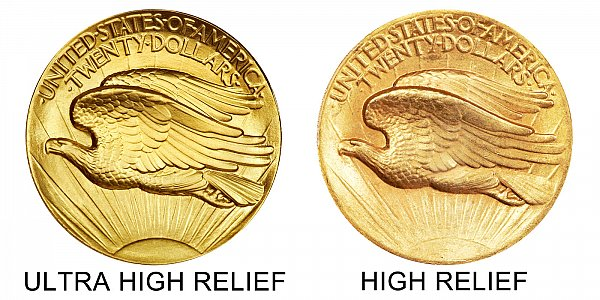 1907 Ultra High Relief vs High Relief Reverse - $20 Saint Gaudens Gold Double Eagle - Difference and Comparison