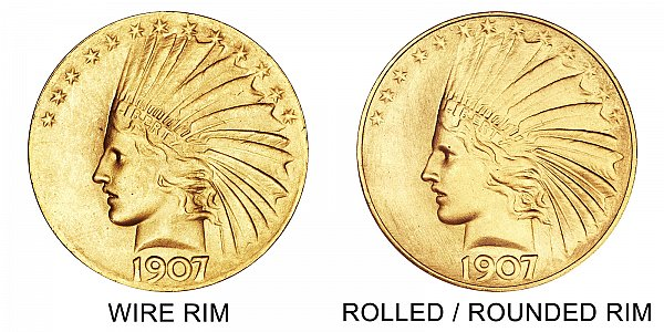 1907 Wire Rim vs Rounded Rim - $10 Indian Head Gold Half Eagle - Difference and Comparison