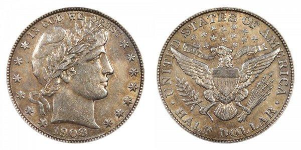1908 Barber Silver Half Dollar