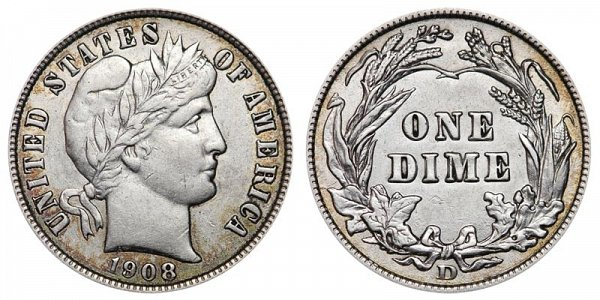 1908 D Silver Barber Dime