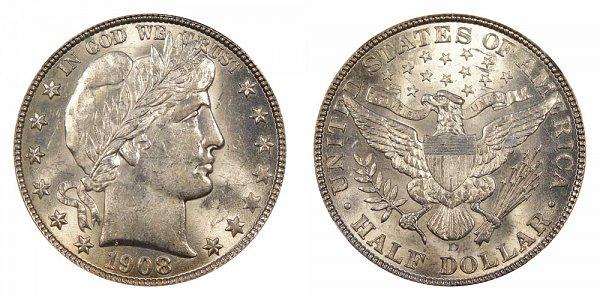 1908 D Barber Silver Half Dollar