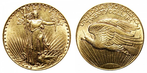 1908 D No Motto - Saint Gaudens $20 Gold Double Eagle - Twenty Dollars
