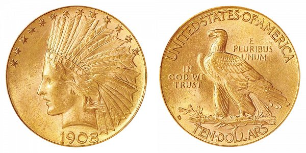 1908 D With Motto - Indian Head $10 Gold Eagle - Ten Dollars