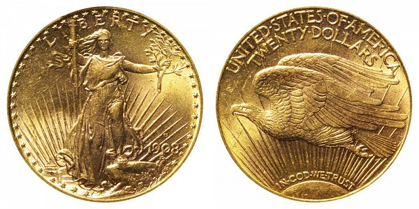 1908 D With Motto - Saint Gaudens $20 Gold Double Eagle - Twenty Dollars