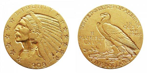 1908 Indian Head $5 Gold Half Eagle - Five Dollars