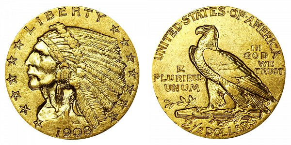 1908 Indian Head $2.50 Gold Quarter Eagle - 2 1/2 Dollars