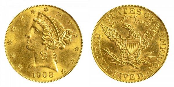 1908 Liberty Head $5 Gold Half Eagle - Five Dollars