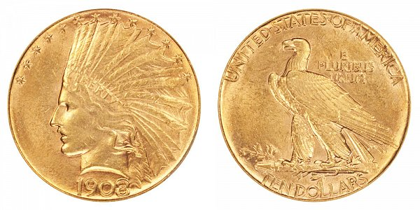 1908 No Motto - Indian Head $10 Gold Eagle - Ten Dollars