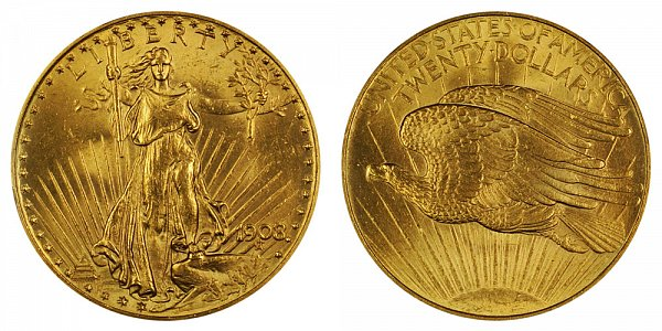 1908 No Motto - Saint Gaudens $20 Gold Double Eagle - Twenty Dollars