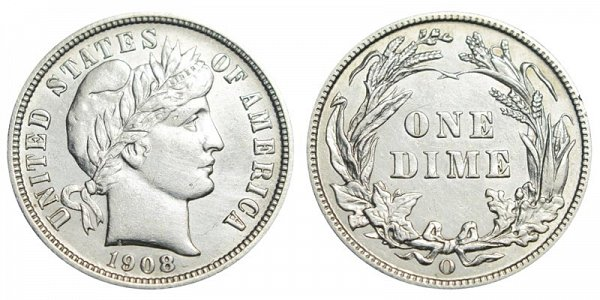 1908 O Silver Barber Dime