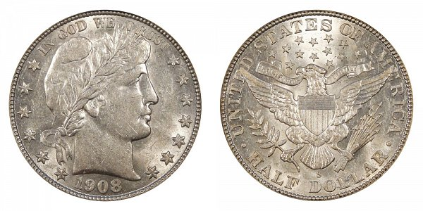 1908 S Barber Silver Half Dollar