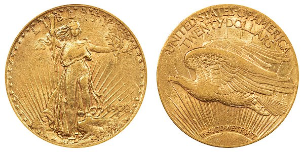 1908 S With Motto - Saint Gaudens $20 Gold Double Eagle - Twenty Dollars