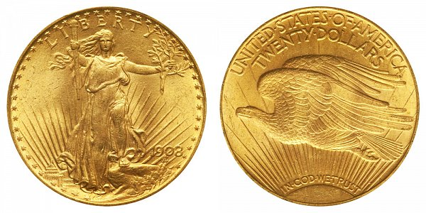 1908 With Motto - Saint Gaudens $20 Gold Double Eagle - Twenty Dollars