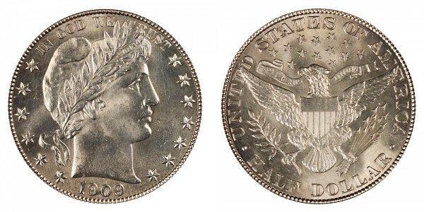 1909 Barber Silver Half Dollar