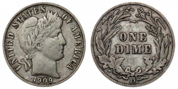 1909 D Silver Barber Dime