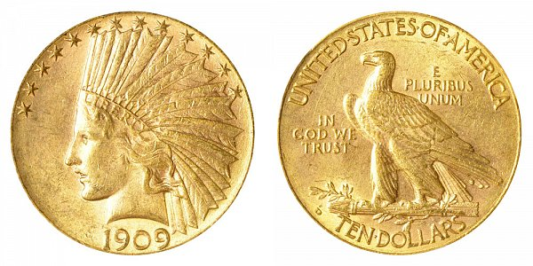1909 D Indian Head $10 Gold Eagle - Ten Dollars