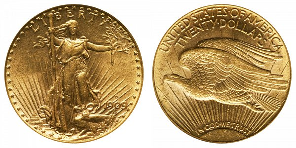 1909 D Saint Gaudens $20 Gold Double Eagle - Twenty Dollars