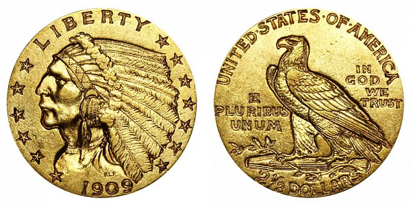 1909 Indian Head $2.50 Gold Quarter Eagle - 2 1/2 Dollars