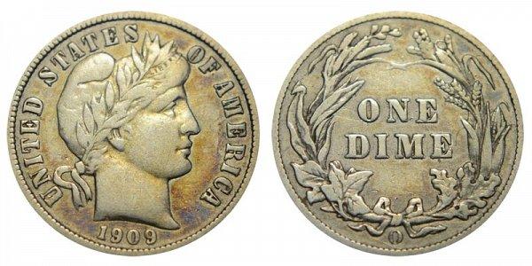 1909 O Silver Barber Dime