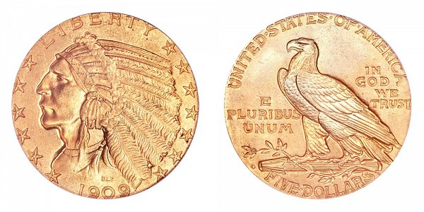 1909 O Indian Head $5 Gold Half Eagle - Five Dollars