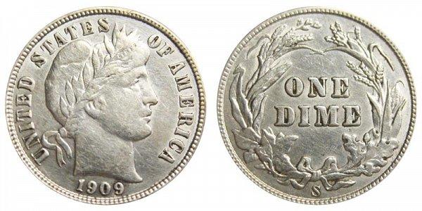 1909 S Silver Barber Dime
