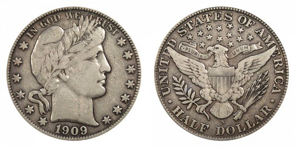 1909 S Barber Silver Half Dollar