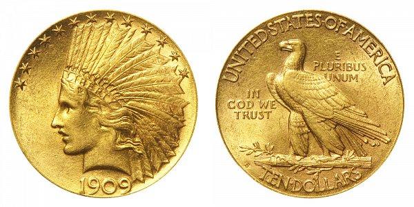 1909 S Indian Head $10 Gold Eagle - Ten Dollars
