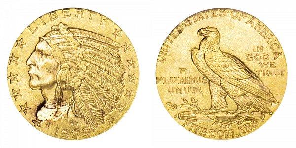 1909 S Indian Head $5 Gold Half Eagle - Five Dollars