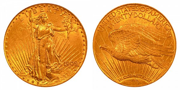 1909 Saint Gaudens $20 Gold Double Eagle - Twenty Dollars
