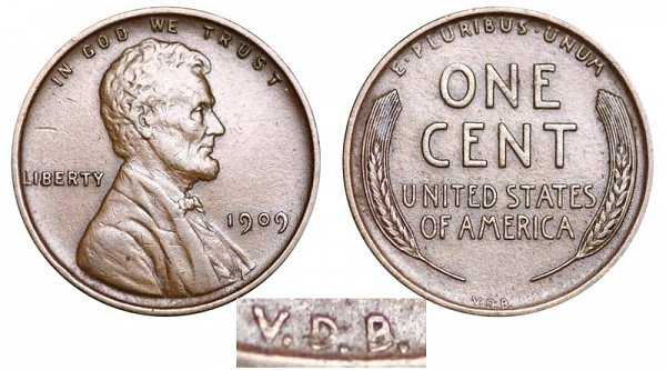 1909 VDB Lincoln Wheat Cent Penny