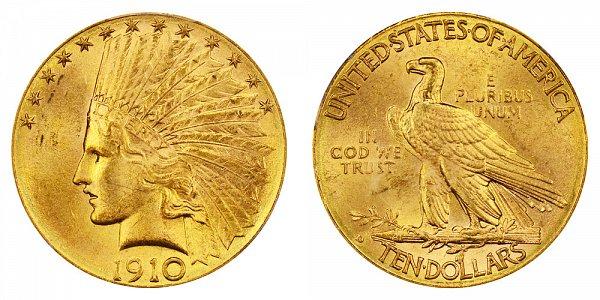 1910 D Indian Head $10 Gold Eagle - Ten Dollars