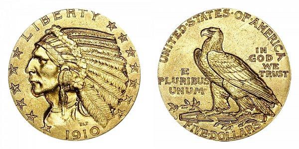 1910 D Indian Head $5 Gold Half Eagle - Five Dollars