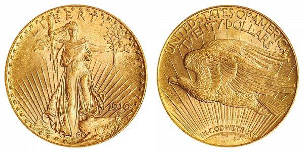 1910 D Saint Gaudens $20 Gold Double Eagle - Twenty Dollars