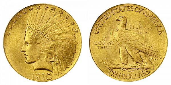 1910 Indian Head $10 Gold Eagle - Ten Dollars
