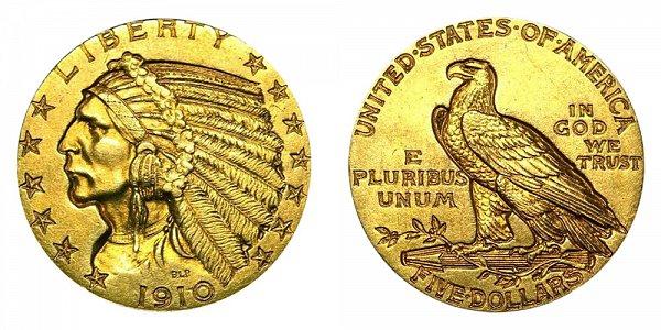 1910 Indian Head $5 Gold Half Eagle - Five Dollars