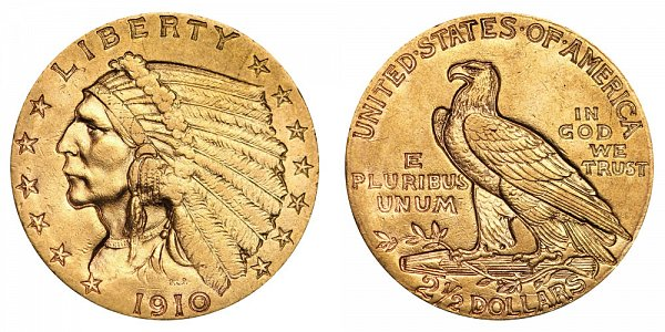 1910 Indian Head $2.50 Gold Quarter Eagle - 2 1/2 Dollars