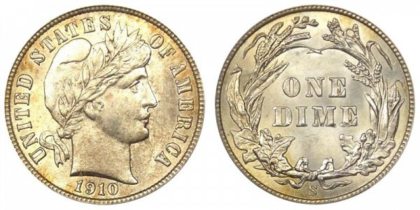 1910 S Silver Barber Dime