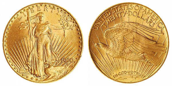 1910 Saint Gaudens $20 Gold Double Eagle - Twenty Dollars