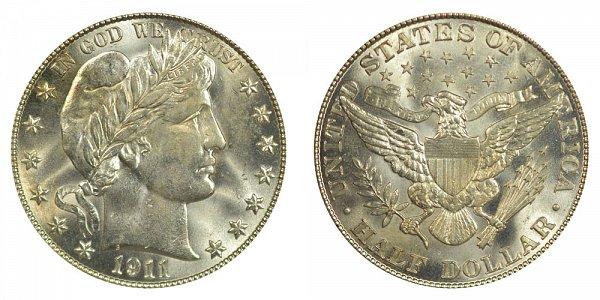 1911 Barber Silver Half Dollar