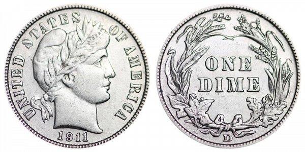 1911 D Silver Barber Dime