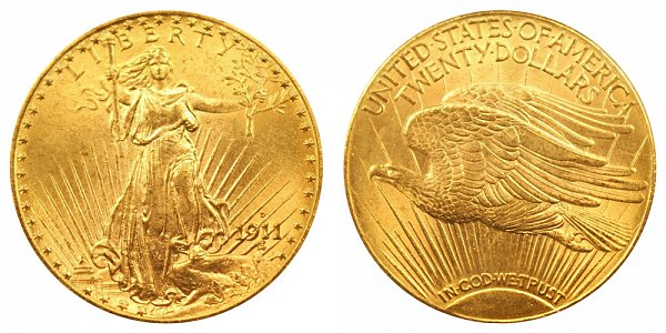 1911 D Saint Gaudens $20 Gold Double Eagle - Twenty Dollars